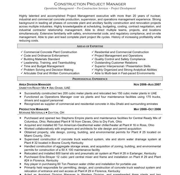 Well-Suited Construction Project Manager Resume 14 Construction ...