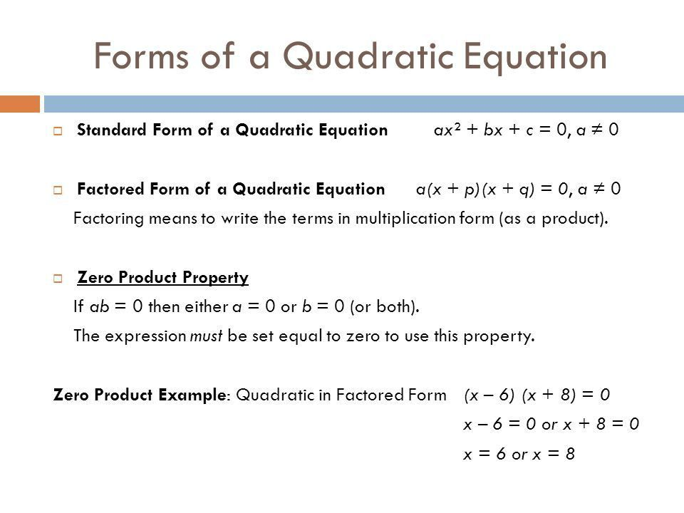 Solving A Quadratic Equation By Factoring