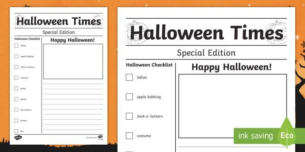 Halloween Blank Newspaper Card Writing Template - Celebrations
