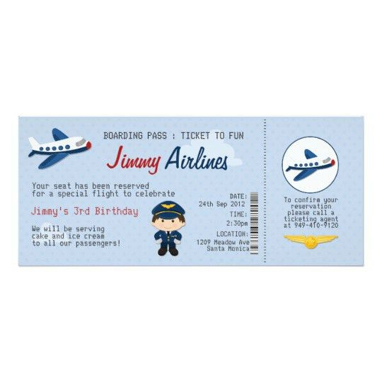 Kids Airline Ticket Birthday Party Invitation | Zazzle.com