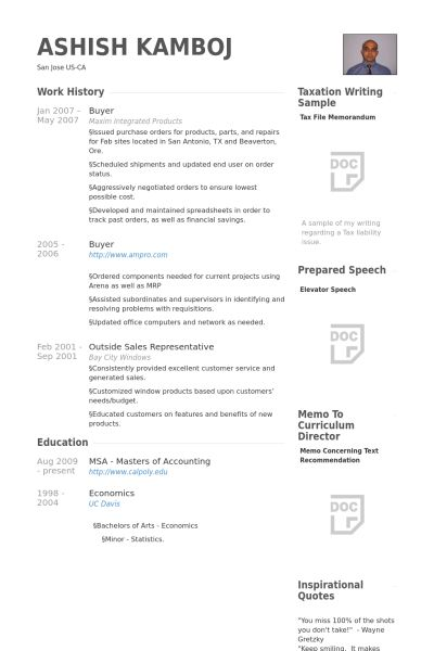 Buyer Resume samples - VisualCV resume samples database