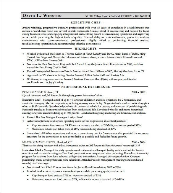 Sample Chef Resume. Sample Resume Of A Chef Senior Chef Resume ...