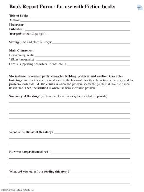 Report Outline  High School Book Report Outline