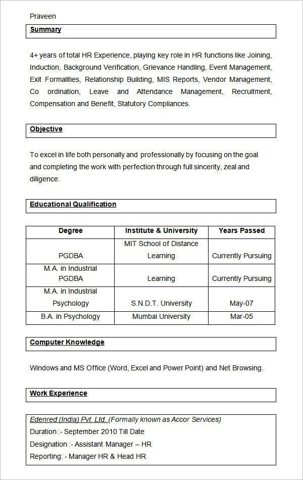 40+ HR Resume CV Templates | HR Templates| Free & Premium ...