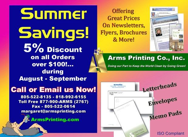 Printing Discount Summer Savings Specials from Arms Printers, 'The ...