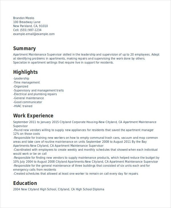 Supervisor Resume Template - 8+ Free Word, PDF Document Downloads ...