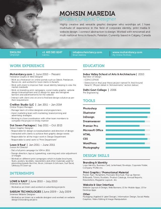 Freelance Graphic & Web Designer Resume | Calgary Canada Mohsin Mared…