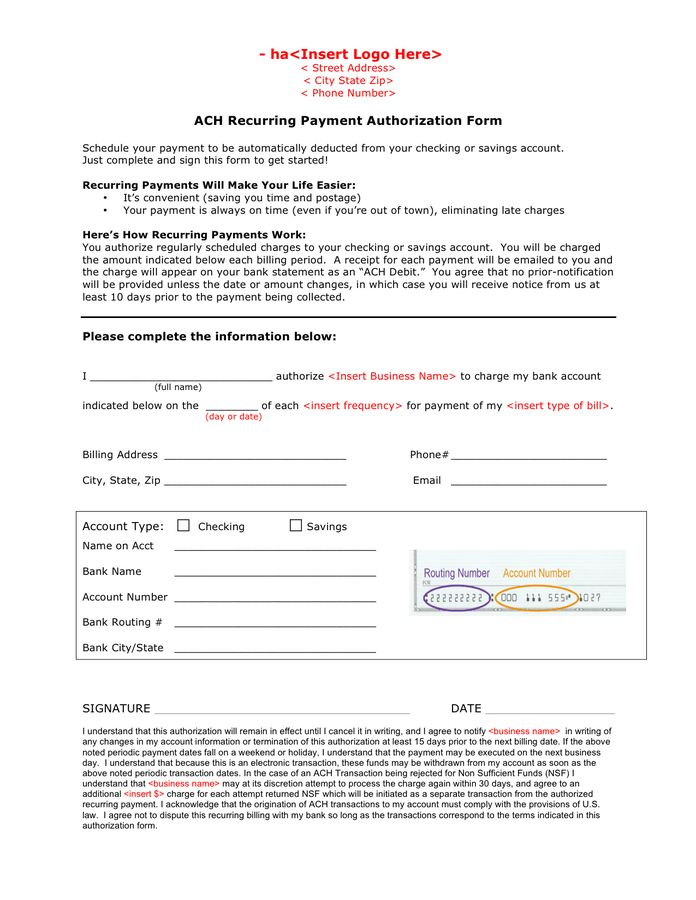 ACH recurring payment authorization form in Word and Pdf formats