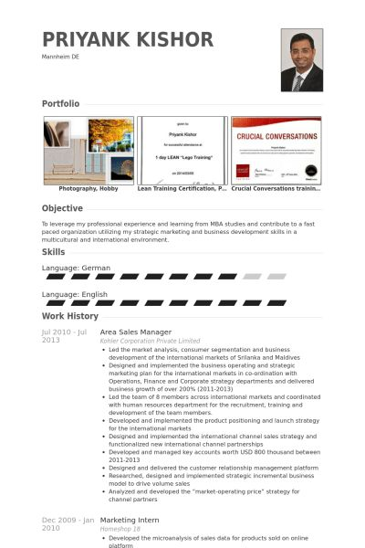 Area Sales Manager Resume samples - VisualCV resume samples database
