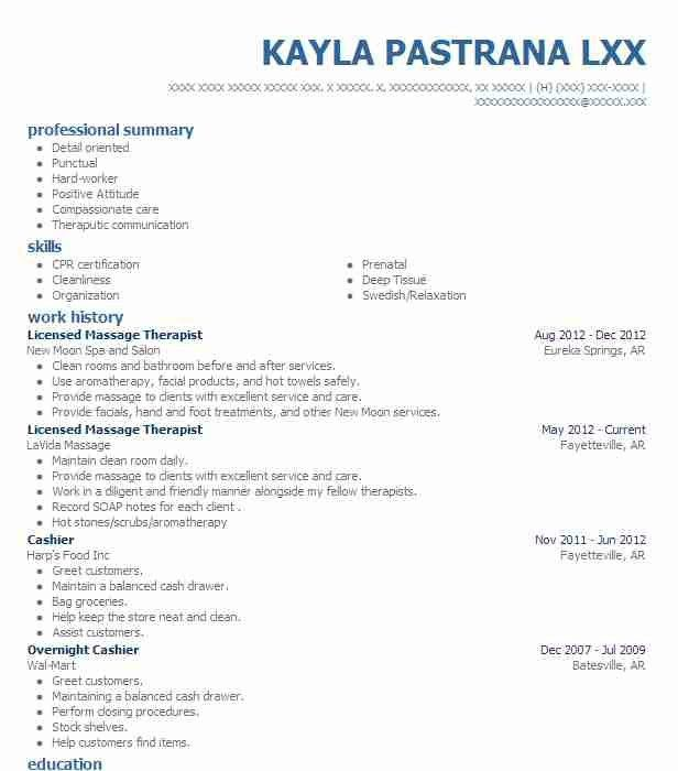 Massage Resume Therapy Samples Therapist With Regard To 23 ...
