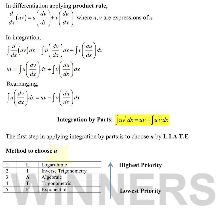 Integration by Parts Formula Derivation & Examples - A-Level H2 Maths