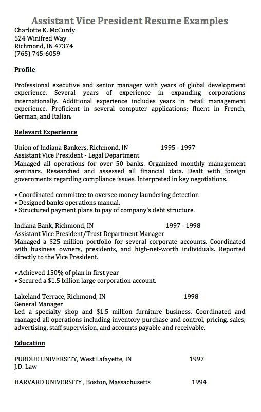 assistant vice president resume assistant vice president resume