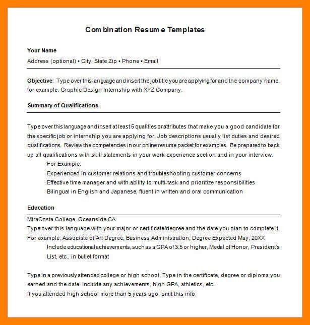 hybrid resume samples
