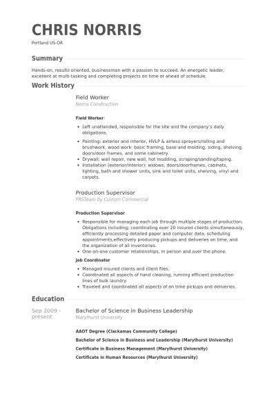 Field Worker Resume samples - VisualCV resume samples database