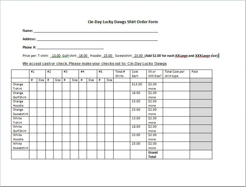 T Shirt Order Form Template | cyberuse