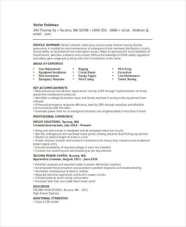 Lineman Resume Template - 6+ Free Word, Documents Download | Free ...