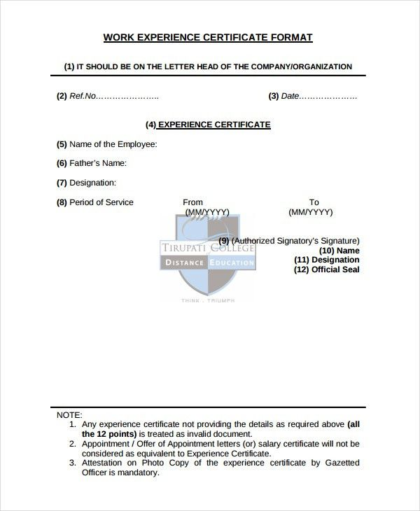 Experience Certificate Template - 7+ Free PDF Download Document ...