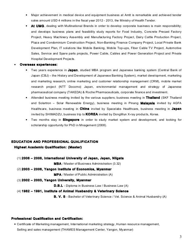 Resume of Dr Aunt Khine MBA 3 2013 MM Revised