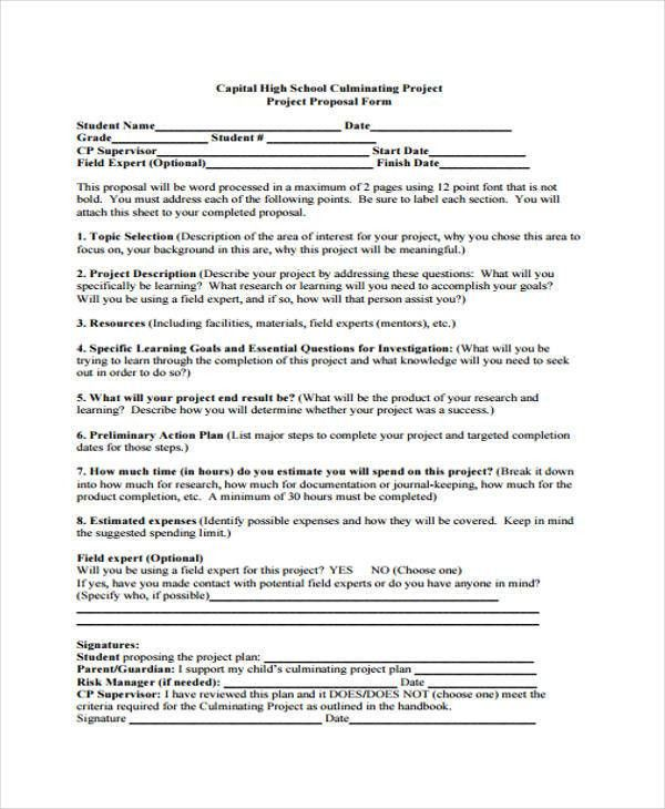 9+ School Project Proposal Templates -Free Sample, Example Format ...