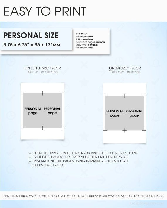 Notes filofax personal size planner inserts printable grid