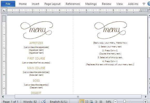 Menu Template Word