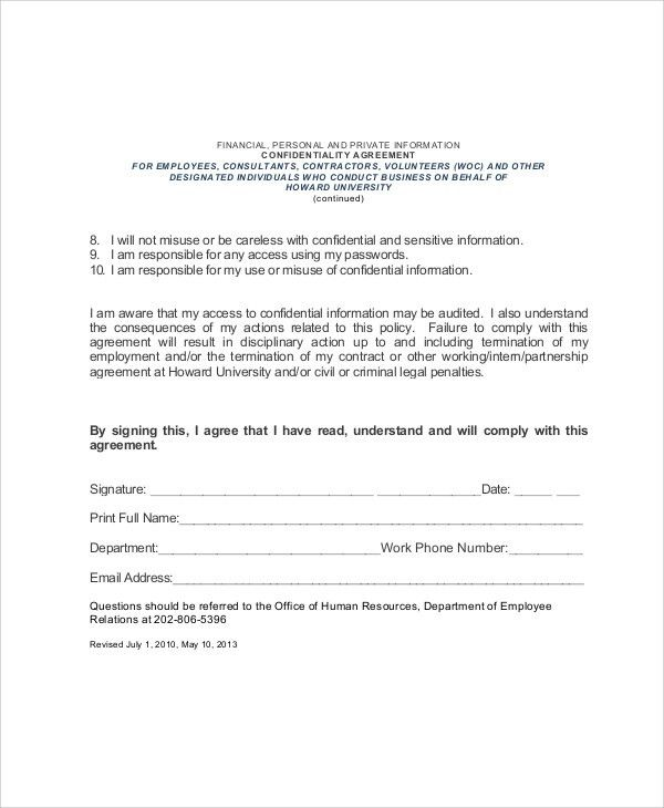 Sample Employee Confidentiality Agreement. Attachment 2 ...