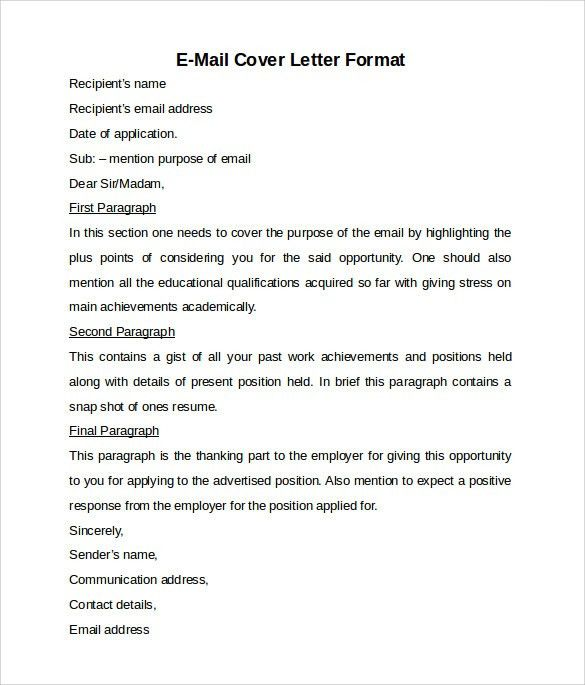 Application Letter Sample Cover Letter Template Email within Email ...