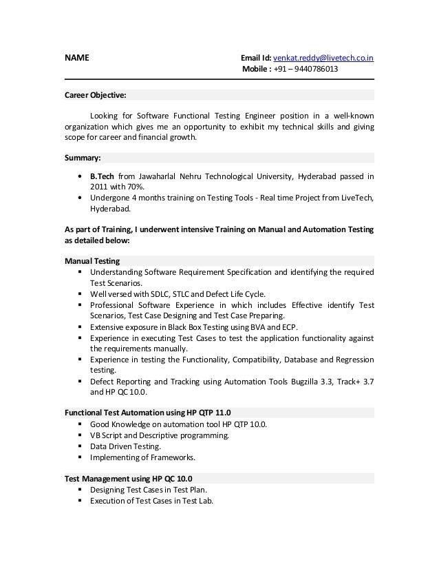 software testing sample resume testing resume sample mobile
