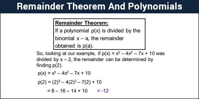 Polynomial Remainder Theorem - Proof and Solved Examples