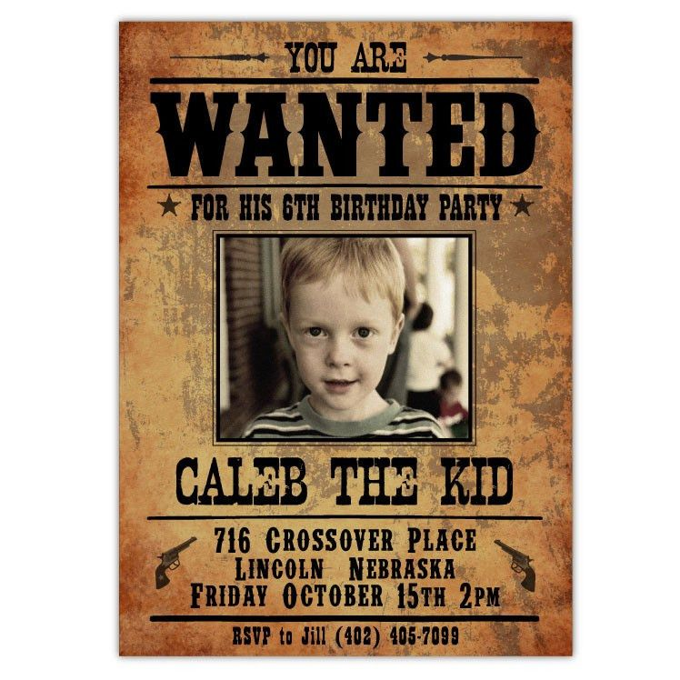 Wanted Outlaw Invitations (A) | Western parties, Party invitations ...