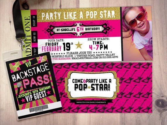 Pop star Rock Star concert ticket birthday party invitation