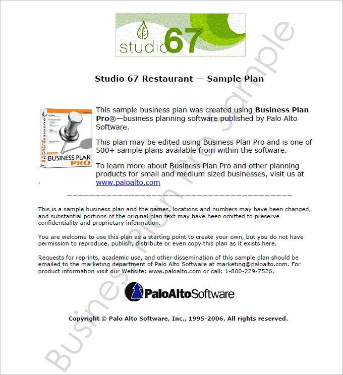 Restaurant Business Plan Template - Free PDF, Word Documents ...