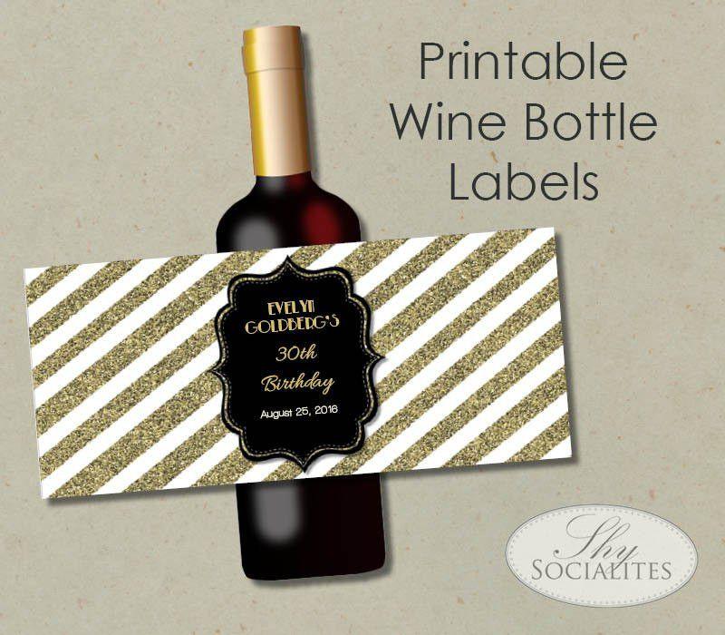 Black & Gold Glitter Printable Wine Label Hostess Gift