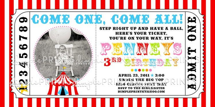 Circus Tent Ticket Printable Photo Invitation - Dimple Prints Shop