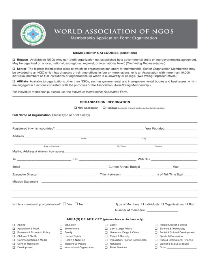 World Aassociation of NGOs Membership Aapplication Form ...