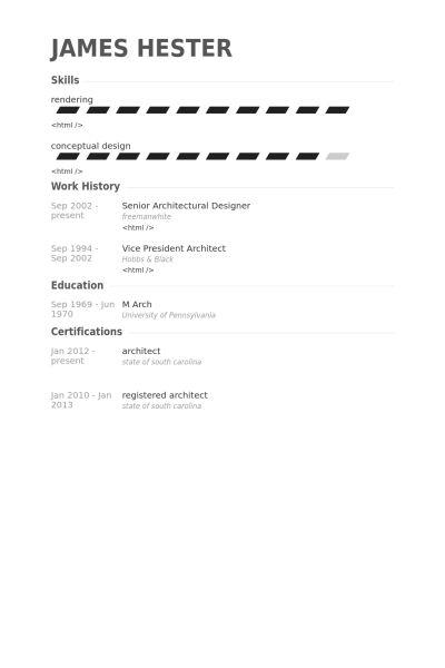 Architectural Designer Resume samples - VisualCV resume samples ...