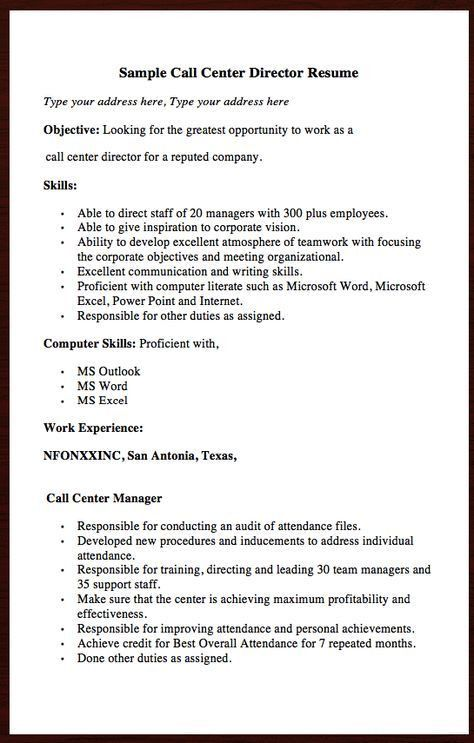 Call Center Resume Sample Objective - Ecordura.com