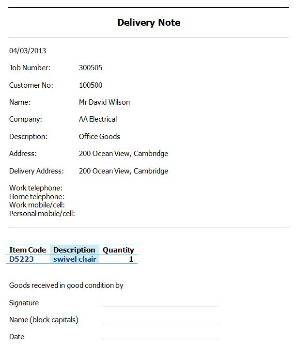 Delivery Note Software - Create a Delivery Note   Amphis Software