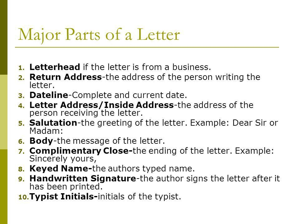 Creating a Business Letter Business Technology Applications. - ppt ...