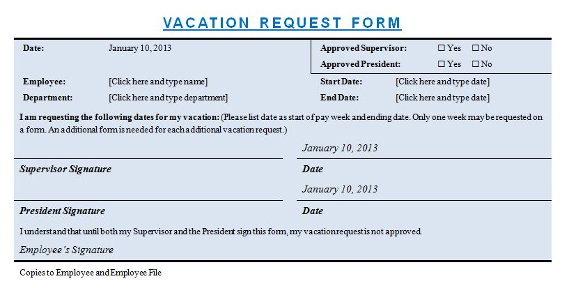 Vacation Request Form | Microsoft Word Templates