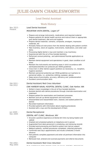Dental Assistant Resume samples - VisualCV resume samples database