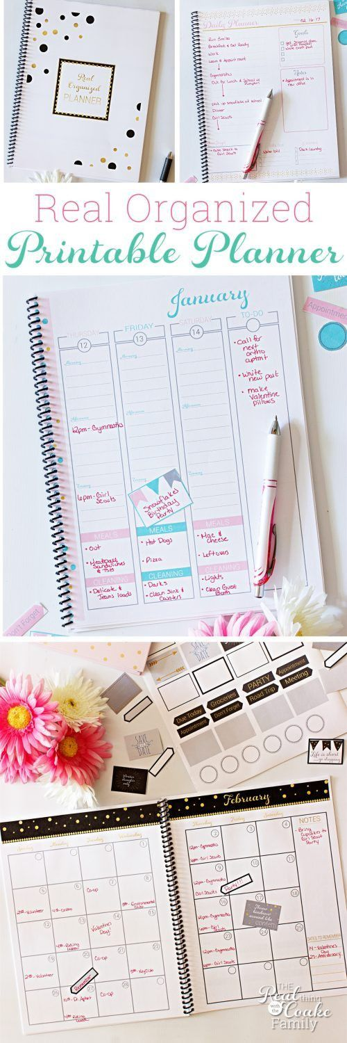2017 Real Organized Printable Calendar / Planner | Family schedule ...