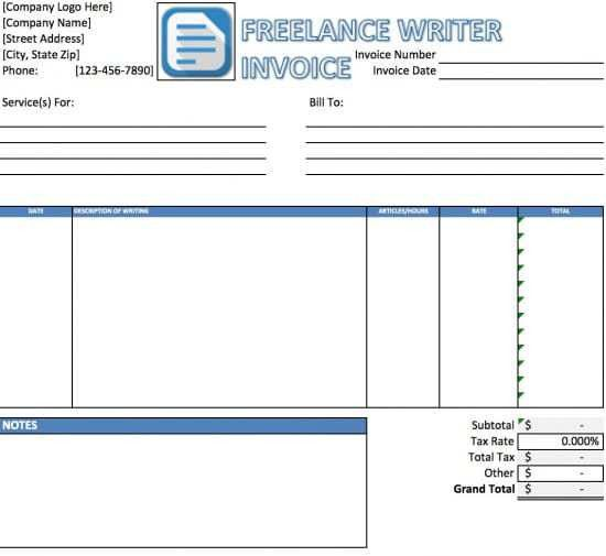 Free Freelance Writer Invoice Template | Excel | PDF | Word (.doc)