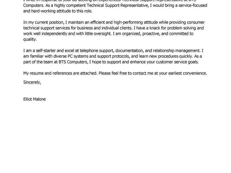 Wondrous Design Ideas Technical Cover Letter 1 Best Support ...