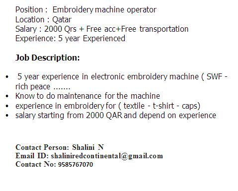 Urgent opening for Embroidery machine operator in Doha Qatar -0 ...