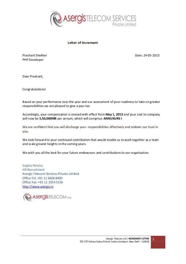 Asergis Telecom Increment Letter