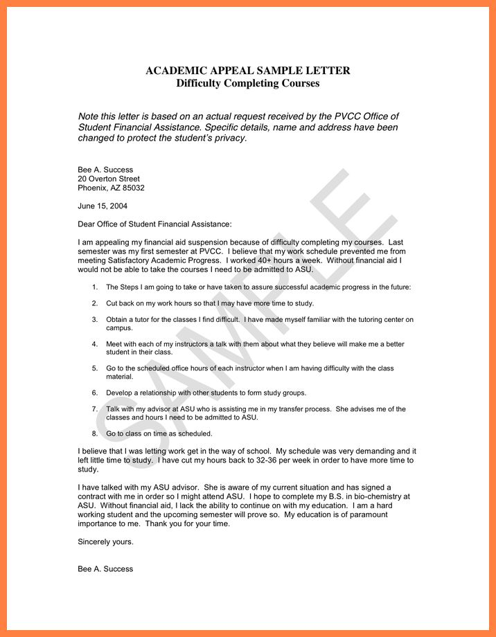 8+ sample academic appeal letter for financial aid | Appeal Letter ...