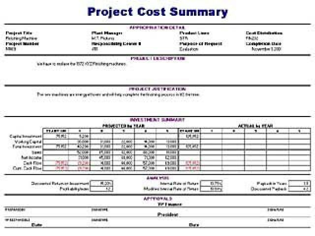 Project Cost Summary Template | Free Layout & Format