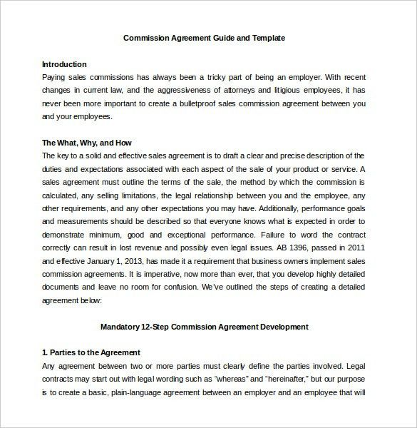 Commission Agreement Template- 12+ Free Word, PDF Documents ...