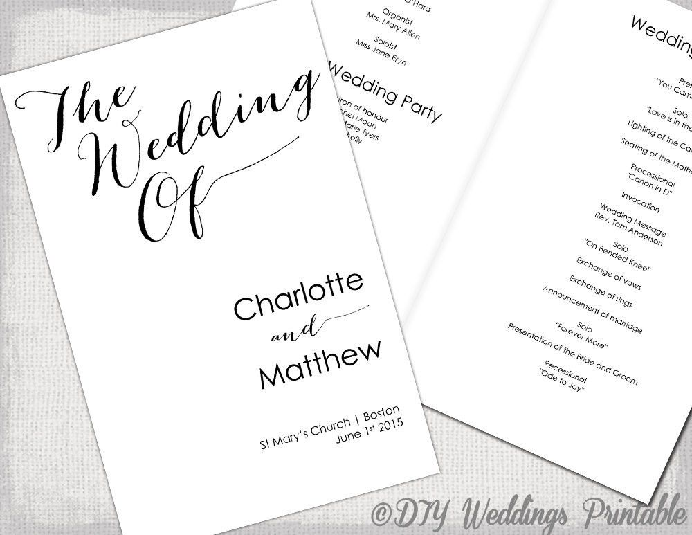 Wedding program template Calligraphy black & white printable